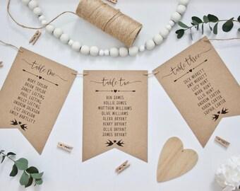 PRINTED Rustic Wedding Table Seating Plan Cards in Bunting Pennant Style - Recycled Kraft Card Twine & Black Ink Vintage Wedding Calligraphy