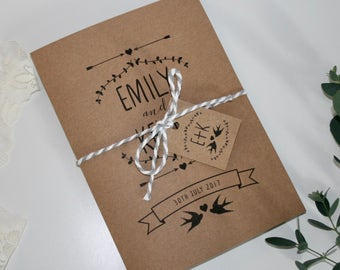 Rustic Wedding Invitation Bundle SAMPLE - Invitation, RSVP, Envelopes, Tag and Twine - 5x7 invite & A6 RSVP - Kraft Recycled - Birds Foliage