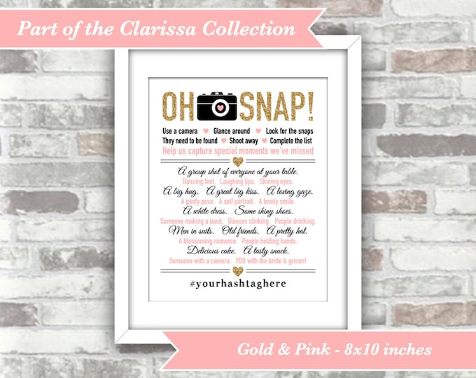 PRINTABLE Digital Files - Clarissa Collection - Oh Snap Wedding I Spy Game Sign - Personalised Personalized Hashtag Gold Pink Wedding Decor