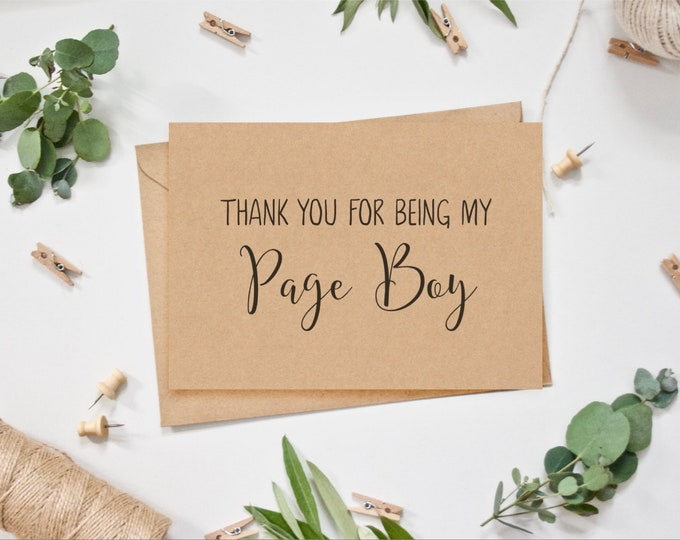 Page Boy Card - Thank you for being my/our Page Boy
