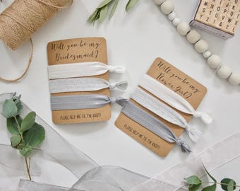 Will You be My Bridesmaid Flower Girl? - Set of 3 Hair Ties - White, Silver Sparkle, Grey - Wedding Favour - Bridesmaid Proposal Gift