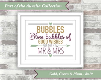 INSTANT DOWNLOAD - Aurelia Collection - Printable Wedding Bubbles Sign - 8x10 Digital Files - Gold Green Plum - Autumn Fall Wedding