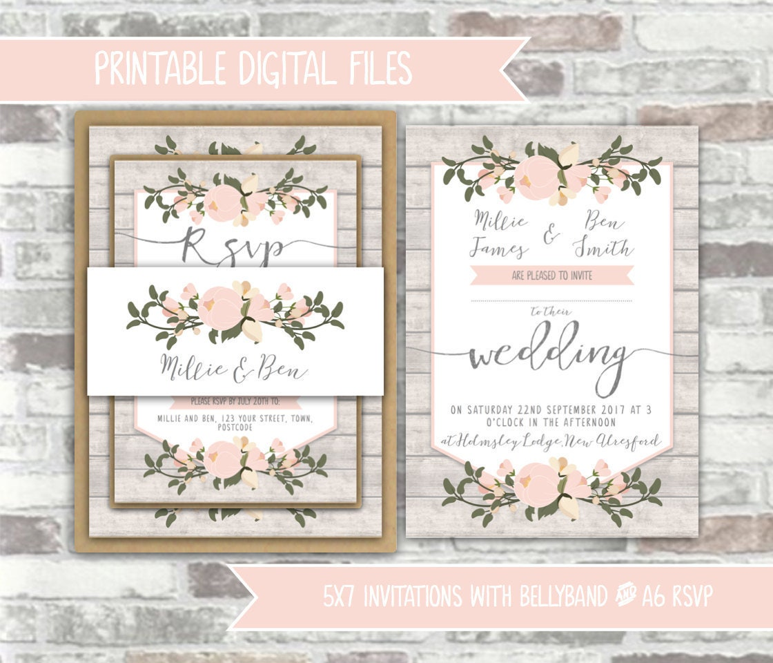 Printable Digital Files Rustic Floral Wedding Invitation Bundle