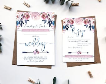 Wedding Invitation Suite SAMPLE - Dusky Pink and Blue Wedding Stationery Bundle - Watercolour Floral Design - Layla Collection - Prints