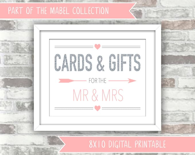 INSTANT DOWNLOAD - Printable Wedding Cards & Gifts Sign - 8x10 Digital File - Silver glitter effect and pink