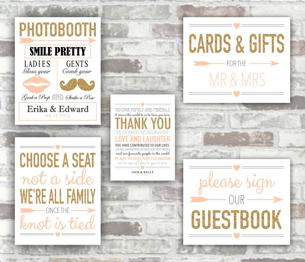 graphic about Printable Wedding Signs identified as PRINTABLE Marriage ceremony Choice - Gold and Blush Crimson