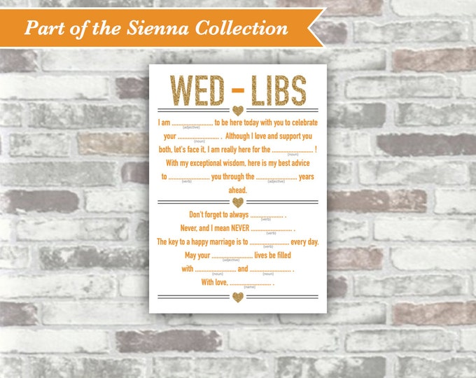 INSTANT DOWNLOAD - Sienna Collection Printable Wedding Wed-Libs Game - 5x7 Digital File - Gold Glitter Effect Burnt Orange - Wedding Game