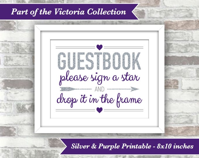 INSTANT DOWNLOAD - Victoria Collection Printable Wedding Star Drop Top Guestbook Guest Book Sign - 8x10 Digital File - Silver and Purple