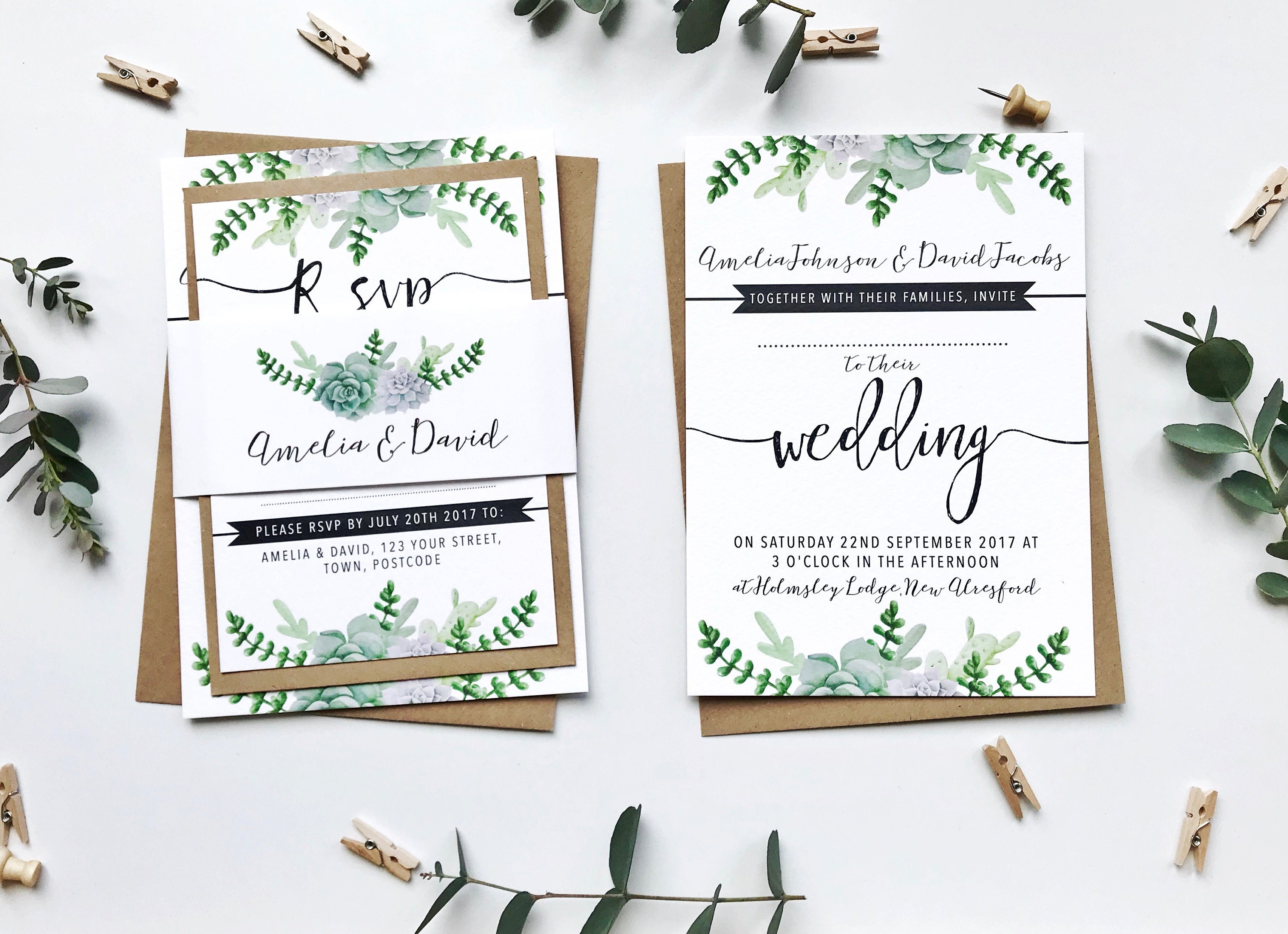 Succulents Wedding Invitation Bundle Printed SAMPLE Wedding ...
