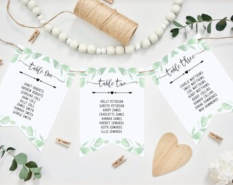 Wedding Table Plan Bunting - Pennant Style - Eucalyptus Design