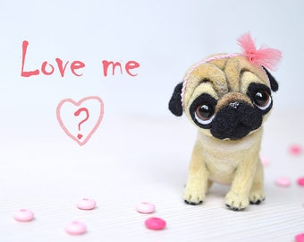 Needle felted pug puppy. Little felt dog. Sweet animal. Funny toy. Cute little toy. Tiny doggi with bunny ears. Woolfelting. Gift for her.