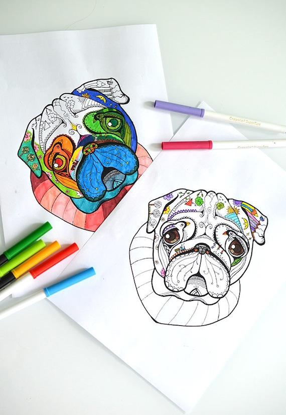 Página de colorear digital con Pug. Imprimibles para colorear | Etsy