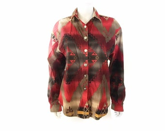 Totally Crazy and Abstract Western Style cowboy Shirt Size Extra Large Rough Rider by Circle T