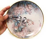 Franklin Mint J. Cheng Song of the Cherry Blossom limited ed. fine porcelain Chinoiserie plate, wall plate, display plate, porcelain art