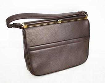 1940s brown leather handbag, brass metal details, vintage purse, vintage ladies bag, vintage bag, handbag, 1940s handbag, vintage leather