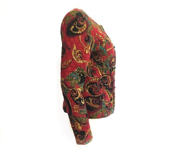 Vintage 80s boho blazer, quilted blazer, quilted … - image 3
