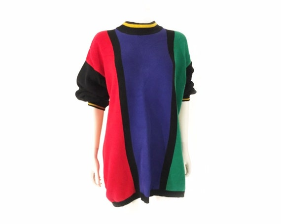 Vintage 1980s oversized colorblock sweater, graphi