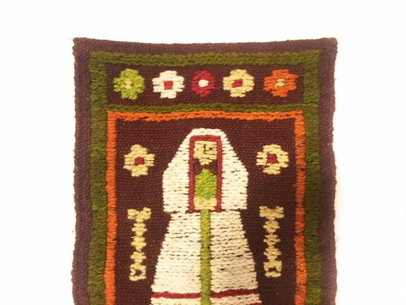 Midcentury handwoven textile wall hanging nun vintage textile MCM weaving multicoloured woman baboushka peasant motif boho decor