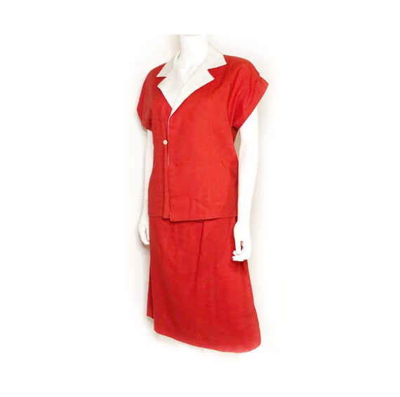 Vibrant coral red and white linen summer suit, wom