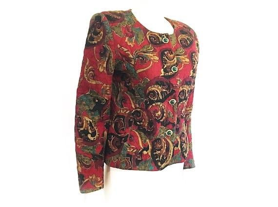 Vintage 80s boho blazer, quilted blazer, quilted … - image 6
