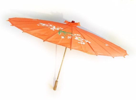 Vintage tangerine orange painted Asian parasol, vi
