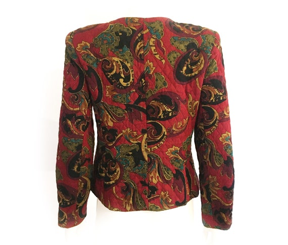 Vintage 80s boho blazer, quilted blazer, quilted … - image 2