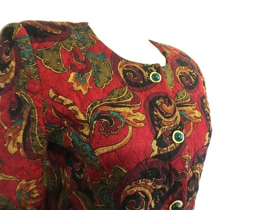 Vintage 80s boho blazer, quilted blazer, quilted … - image 4