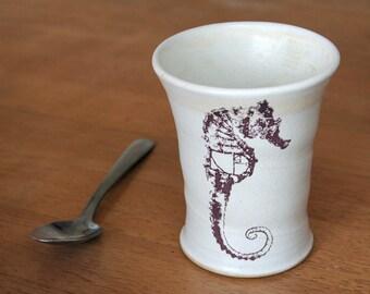 FRINGE Seahorse Glyph Cup / Tumbler: handmade, ceramic, unique