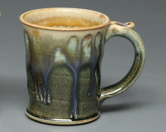 Skinny Mug for Coffee or Tea: earth tones and drippy glaze. 100% handmade and totally unique.