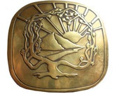 Vintage Tree of Life Sunset Belt Buckle - Landscape - Solid Brass - Sunrise - Moon Sky - Mountains - Gifts for Her or Him - Love