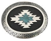 Vintage Turquoise Stone Inlay Belt Buckle - Navajo Western Design - Tribal - Southwestern - Inlaid - Chevron - Indian Design Hopi Silver