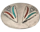 Rare Beautiful Vintage Arrowhead Belt Buckle - Turquoise and Coral Inlay - Native American - Indian - Art - Stone - Gifts for Men - Navajo