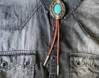 Southwestern Turquoise Bolo Tie - Gifts for Him Cabochon Indian Leather Cowboy Necktie Accessories Mens Necklace - Leather Brown Cord Woven