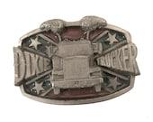 Vintage Dixie Trucker Belt Buckle - Freightliner - Engraved Stars Pewter - Kenworth - Mack - Trucker - Valentines Day Gift Idea