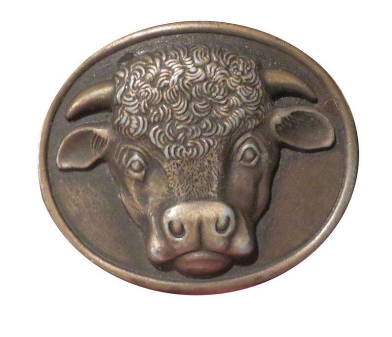 Malcolm Hereford Cows Cocktails 1975- advertising Dairy Farm Black and White - Face Vintage Cow Belt Buckle Head