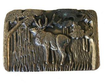 Vintage Elk Belt Buckle - Antler - Alaska - Wilderness - Woods - Tree - Hunting -   - Fathers Day Gift Idea