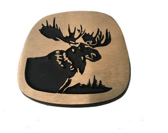 Vintage Solid Bronze Moose Head Belt Buckle - Antlers - Canada Alaska - Wilderness - Hunting - Animal - Fathers Day Gift Idea