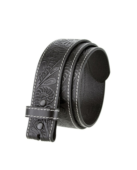 Black Tooled Leather Snap Belt Strap 100% Full Grain Western Style Cow Hide Removable belt strap Cool Gifts for Him Men Floral