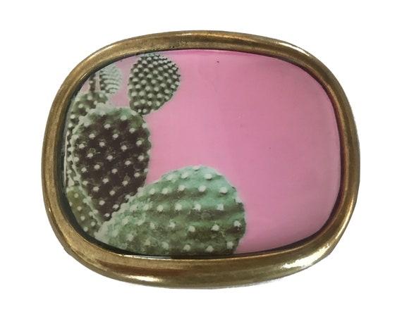 Desert Art Print Inlay Arizona New Mexico California Cacti Vintage Pink Cactus Print Belt Buckle Girls Womens Travel Plant Succulent
