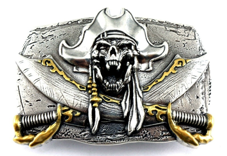 Ship Captain Jack  Idea Mustache Eye Patch Large Vintage Pirate Belt Buckle Outlaw Silver Sword