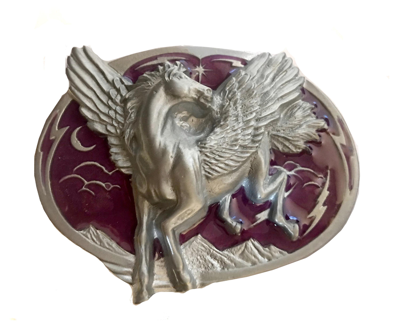 Unicorn Horse Blue Enamel Metal Belt Buckle