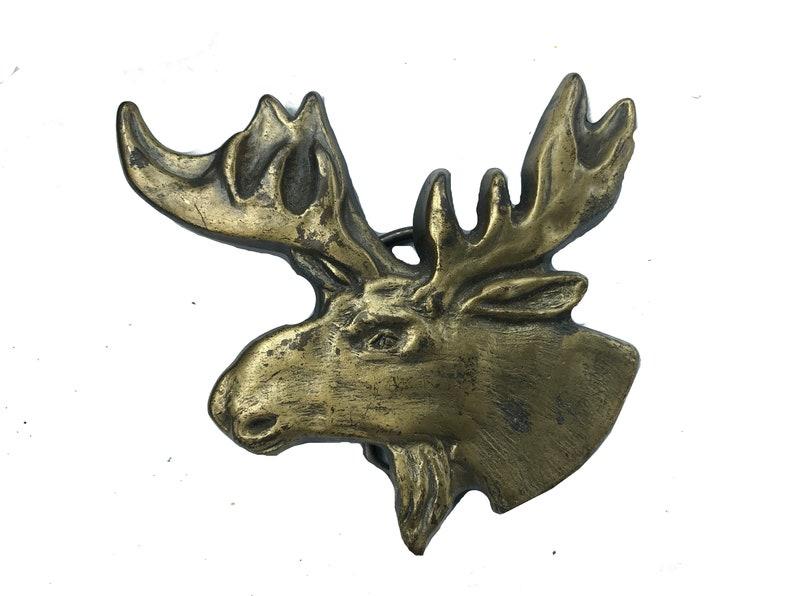 Hunting Alaska Men/'s Large Animal Large Moose Head Belt Buckle Solid Brass Sale 1970s Antlers