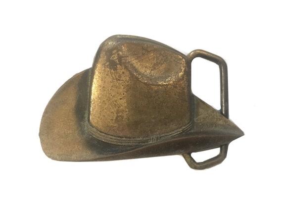 00244208137 Vintage Large Cowboy Hat Belt Buckle Western Solid Brass