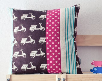 Brown pillow cover with vespa scooter print and fuchsia, aqua accent colors
