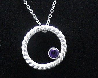 Amethyst Circle Sterling Necklace SCAD Grad