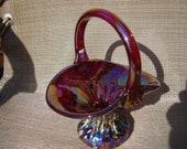 Gibson Art Glass Red Carnival Iridescent Basket