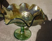 Older Imperial Carnival Glass Green Scroll Embossed Compote