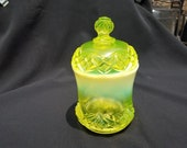 EAPG Northwood National Glass Canary or Vaseline Opalescent Diamond Spearhead Sugar Bowl