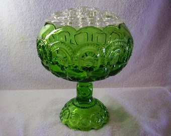 L E Smith Glass Moon and Stars Green Cupped In Compote with Flower Frog