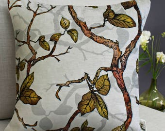Inky Branches and Leaves Cushion with Botanical Woodland Pattern